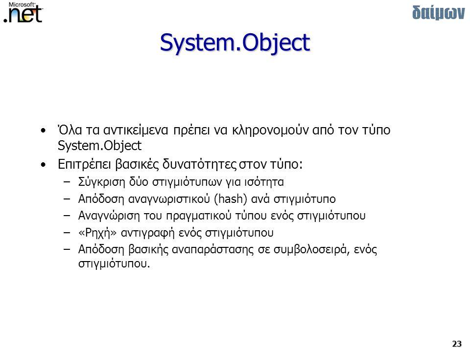 23 System.Object Όλα τα αντικείμενα πρέπει να κληρονομούν από τον τύπο System.Object Επιτρέπει βασικές δυνατότητες στον τύπο: –Σύγκριση δύο στιγμιότυπων για ισότητα –Απόδοση αναγνωριστικού (hash) ανά στιγμιότυπο –Αναγνώριση του πραγματικού τύπου ενός στιγμιότυπου –«Ρηχή» αντιγραφή ενός στιγμιότυπου –Απόδοση βασικής αναπαράστασης σε συμβολοσειρά, ενός στιγμιότυπου.