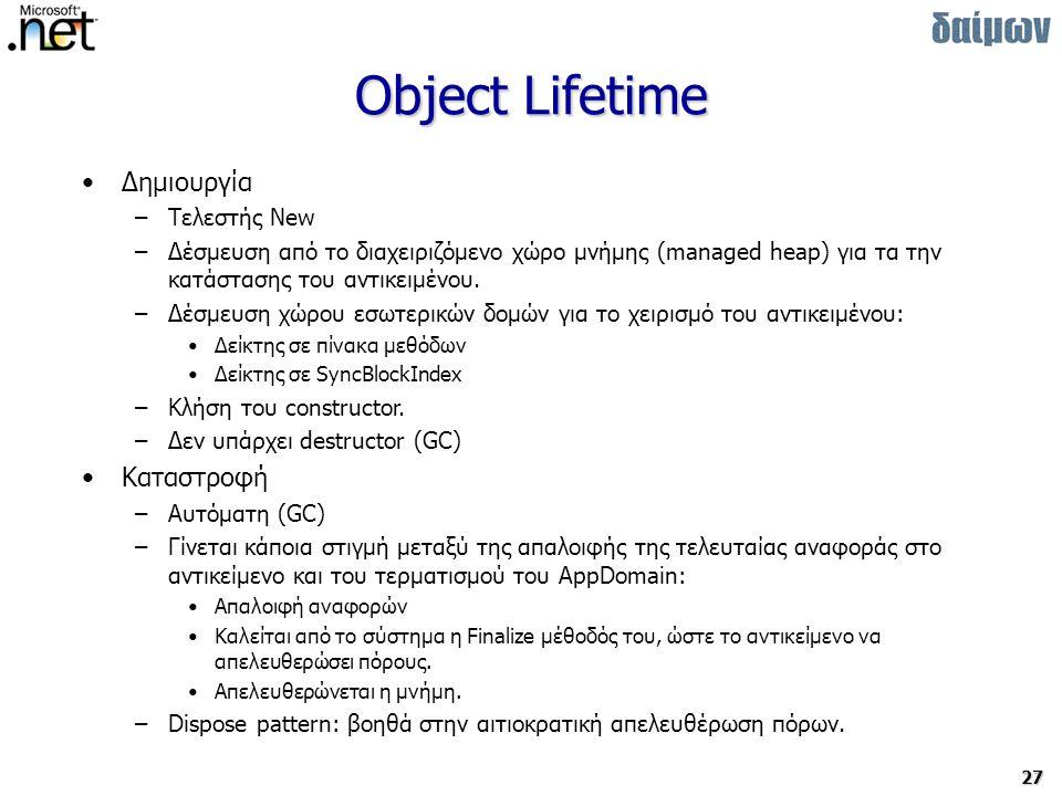 27 Object Lifetime Δημιουργία –Τελεστής New –Δέσμευση από το διαχειριζόμενο χώρο μνήμης (managed heap) για τα την κατάστασης του αντικειμένου.