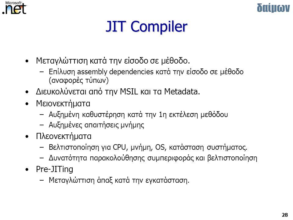 28 JIT Compiler Μεταγλώττιση κατά την είσοδο σε μέθοδο.