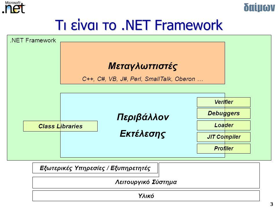 4 Που και πως «τρέχει» το.NET MS.NET Framework –Σαν πρόσθετο στοιχείο σε: Windows 98/98b/Me/NT4/2000 –Υπάρχει ενσωματωμένο σε Windows XP/2003 MS.NET Framework SDK –Windows NT4/2000/XP/2003 MS Shared Source CLI (Rotor) –FreeBSD –Windows XP/2003 MONO Implementation –Linux SS CLI –Linux ports (Macadamian κλπ)