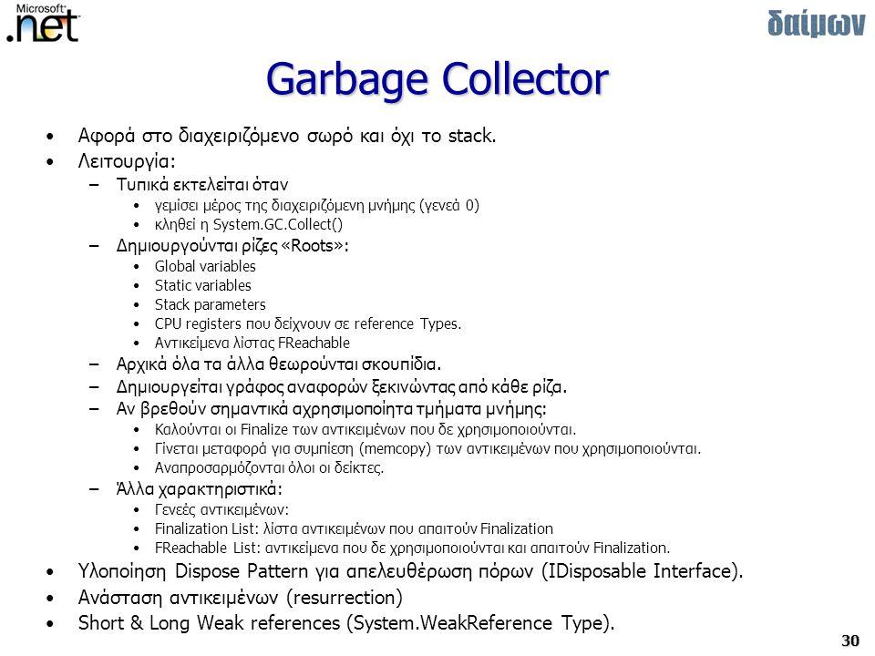 30 Garbage Collector Αφορά στο διαχειριζόμενο σωρό και όχι το stack.