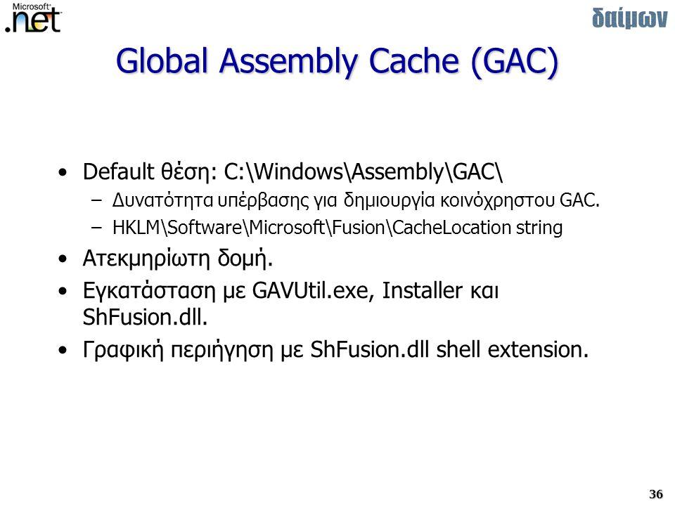 36 Global Assembly Cache (GAC) Default θέση: C:\Windows\Assembly\GAC\ –Δυνατότητα υπέρβασης για δημιουργία κοινόχρηστου GAC.