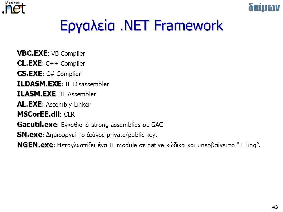 43 Εργαλεία.NET Framework VBC.EXE VBC.EXE : VB Complier CL.EXE CL.EXE : C++ Complier CS.EXE CS.EXE : C# Complier ILDASM.EXE ILDASM.EXE : IL Disassembler ILASM.EXE ILASM.EXE : IL Assembler AL.EXE AL.EXE : Assembly Linker MSCorEE.dll MSCorEE.dll : CLR Gacutil.exe Gacutil.exe : Εγκαθιστά strong assemblies σε GAC SN.exe SN.exe : Δημιουργεί το ζεύγος private/public key.