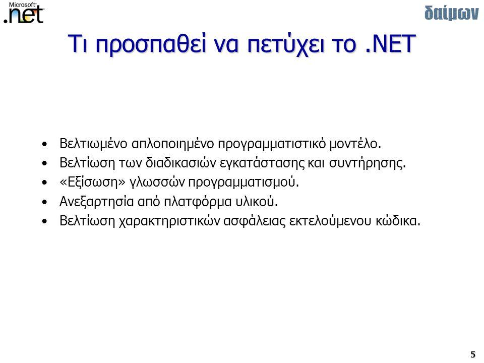 6 Τυποποίηση του.NET Οκτώβρης 2000 Microsoft + Intel + HP Technical committee TC39 –Technical Group 1 ECMAScript –Technical Group 2 C# –Technical Group 3 CLI –Μορφοποίηση αρχείων (File Format) –Ανοιχτό σύστημα μεταδεδομένων (Metadata System) –Κοινό σύστημα τύπων (Common Type System) –Ενδιάμεση γλώσσα (Intermediate Language) –Πρόσβαση στην υποκείμενη πλατφόρμα (P/Invoke) –Βασική βιβλιοθήκη κλάσεων για τυπικές και μικρές υπολογιστικές μονάδες