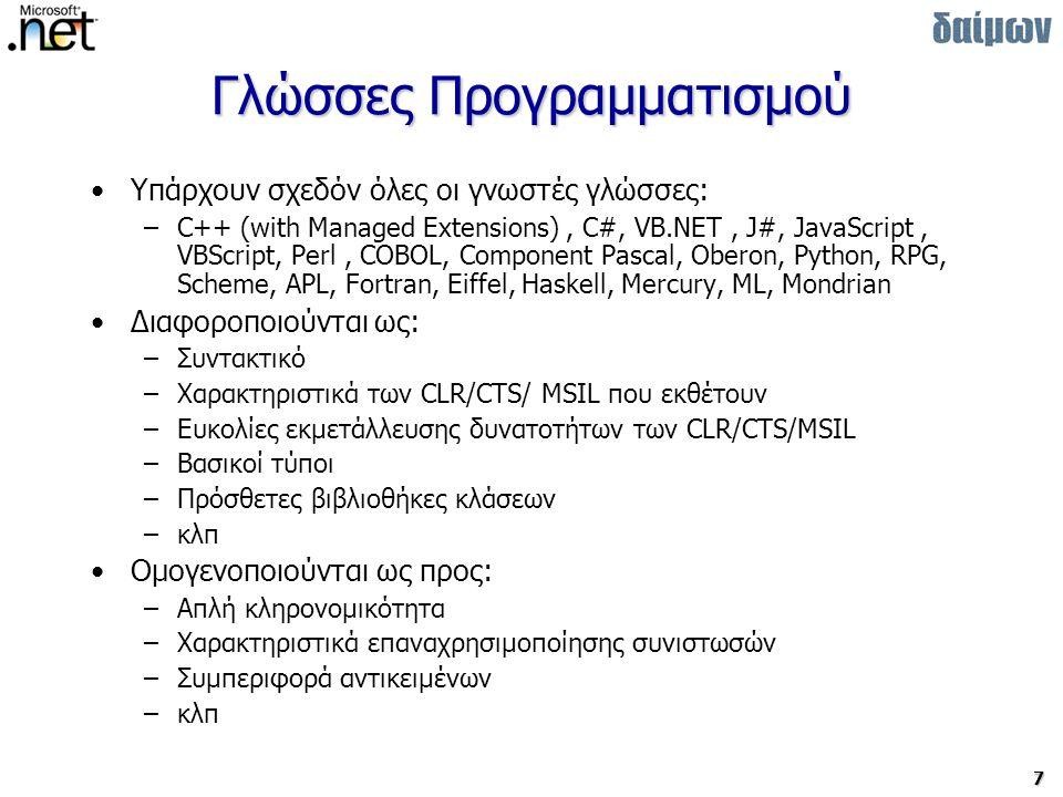 38 Διαχείριση Εφαρμογών Αρχεία διαχείρισης / ρυθμίσεων –Σύνταξη XML –Καθορίζουν: Δέντρο αναζήτησης στοιχείων Συμβατότητα εκδόσεων συνιστωσών Συμβατότητα με CLR Τοπικά Configuration Files (.config) –Αρχεία στο χώρο της εφαρμογής (xxxx.config) –Ειδική κατηγορία: Publisher Policy αρχεία (συνιστώσας).