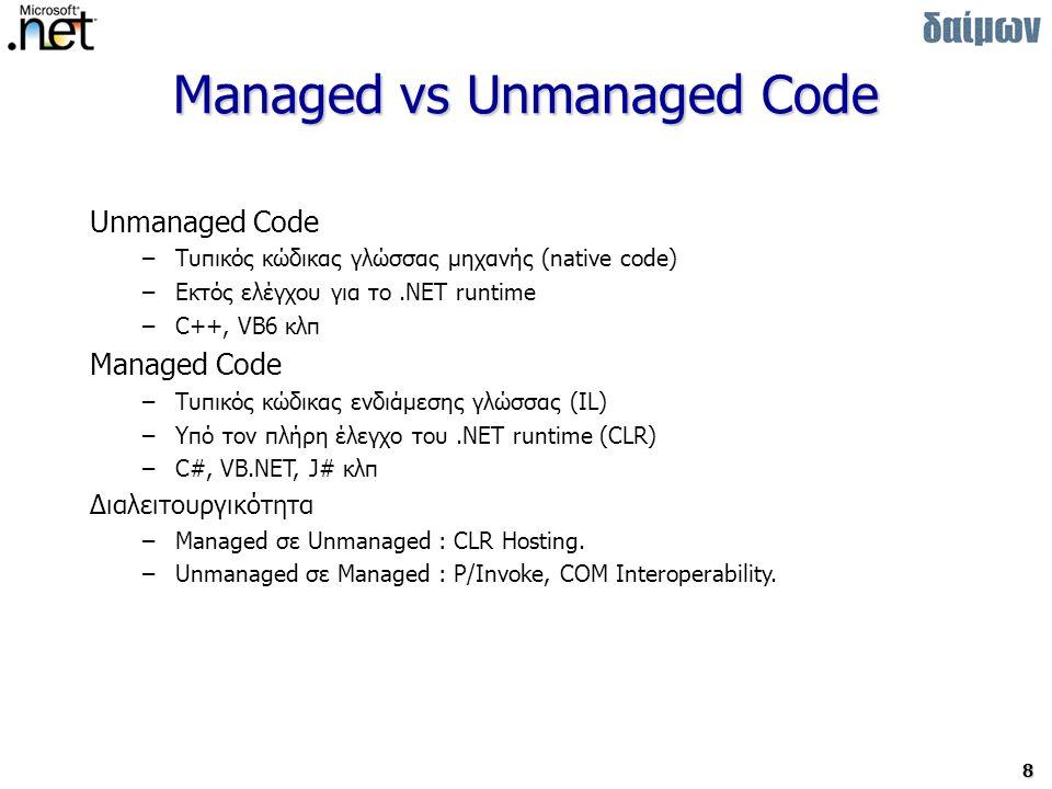 8 Managed vs Unmanaged Code Unmanaged Code –Τυπικός κώδικας γλώσσας μηχανής (native code) –Εκτός ελέγχου για το.NET runtime –C++, VB6 κλπ Managed Code –Τυπικός κώδικας ενδιάμεσης γλώσσας (IL) –Υπό τον πλήρη έλεγχο του.NET runtime (CLR) –C#, VB.NET, J# κλπ Διαλειτουργικότητα –Managed σε Unmanaged : CLR Hosting.