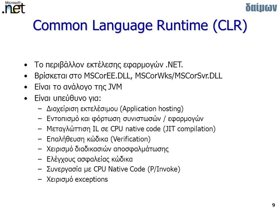 9 Common Language Runtime (CLR) Το περιβάλλον εκτέλεσης εφαρμογών.NET.