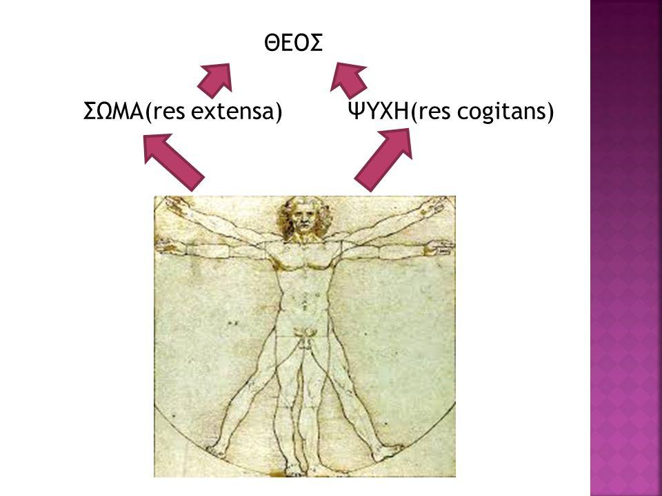 ΘΕΟΣ ΣΩΜΑ(res extensa) ΨΥΧΗ(res cogitans)