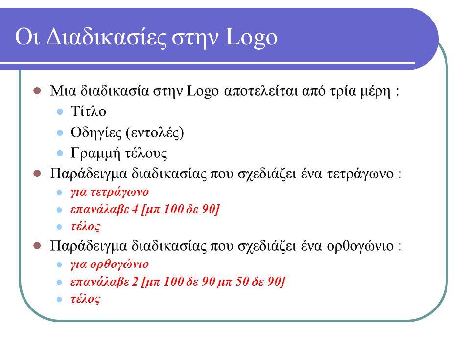 Διαδικασίες με Παραμέτρους στην Logo Για να χρησιμοποιήσουμε παραμέτρους σε μια διαδικασία της Logo, χρησιμοποιούμε τα σύμβολα :χ, :ψ κοκ για όσες μεταβλητές θέλουμε να έχουμε.