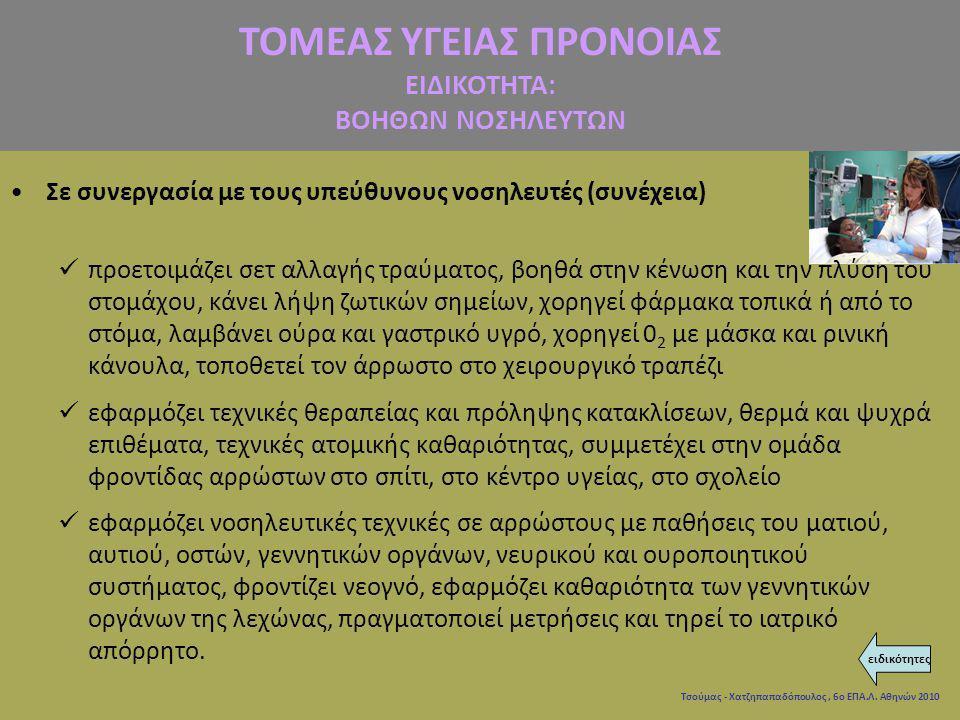 Τσούμας - Χατζηπαπαδόπουλος, 6ο ΕΠΑ.Λ. Αθηνών 2010 Σε συνεργασία με τους υπεύθυνους νοσηλευτές (συνέχεια) προετοιμάζει σετ αλλαγής τραύματος, βοηθά στ