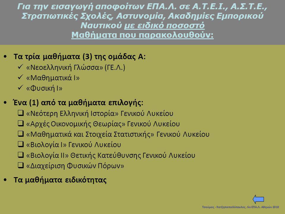 Τσούμας - Χατζηπαπαδόπουλος, 6ο ΕΠΑ.Λ. Αθηνών 2010 Τα τρία μαθήματα (3) της ομάδας Α: «Νεοελληνική Γλώσσα» (ΓΕ.Λ.) «Μαθηματικά Ι» «Φυσική Ι» Ένα (1) α