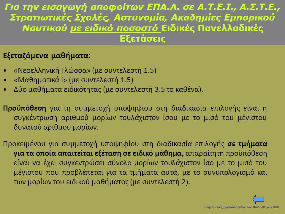 Τσούμας - Χατζηπαπαδόπουλος, 6ο ΕΠΑ.Λ. Αθηνών 2010 Εξεταζόμενα μαθήματα: «Νεοελληνική Γλώσσα» (με συντελεστή 1.5) «Μαθηματικά Ι» (με συντελεστή 1.5) Δ