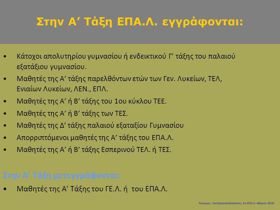 Τσούμας - Χατζηπαπαδόπουλος, 6ο ΕΠΑ.Λ. Αθηνών 2010 Κάτοχοι απολυτηρίου γυμνασίου ή ενδεικτικού Γ' τάξης του παλαιού εξατάξιου γυμνασίου. Μαθητές της Α