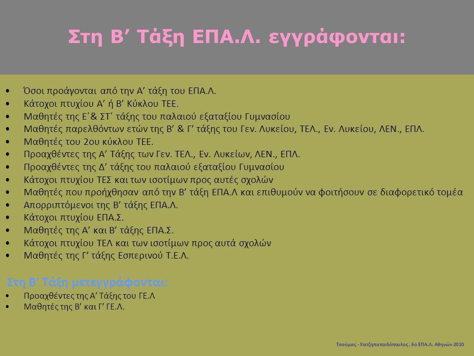Τσούμας - Χατζηπαπαδόπουλος, 6ο ΕΠΑ.Λ. Αθηνών 2010 Όσοι προάγονται από την Α' τάξη του ΕΠΑ.Λ. Κάτοχοι πτυχίου Α' ή Β' Κύκλου ΤΕΕ. Μαθητές της Ε΄& ΣΤ΄