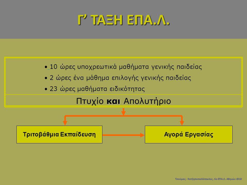 Τσούμας - Χατζηπαπαδόπουλος, 6ο ΕΠΑ.Λ. Αθηνών 2010 10 ώρες υποχρεωτικά μαθήματα γενικής παιδείας 2 ώρες ένα μάθημα επιλογής γενικής παιδείας 23 ώρες μ