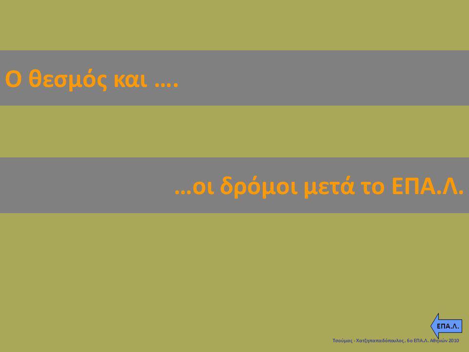 Τσούμας - Χατζηπαπαδόπουλος, 6ο ΕΠΑ.Λ. Αθηνών 2010 Ο θεσμός και …. …οι δρόμοι μετά το ΕΠΑ.Λ. ΕΠΑ.Λ.