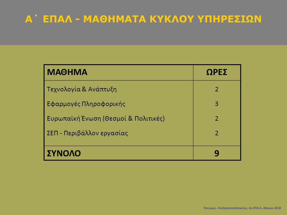 Τσούμας - Χατζηπαπαδόπουλος, 6ο ΕΠΑ.Λ. Αθηνών 2010 ΜΑΘΗΜΑΩΡΕΣ Τεχνολογία & Ανάπτυξη Εφαρμογές Πληροφορικής Ευρωπαϊκή Ένωση (Θεσμοί & Πολιτικές) ΣΕΠ -