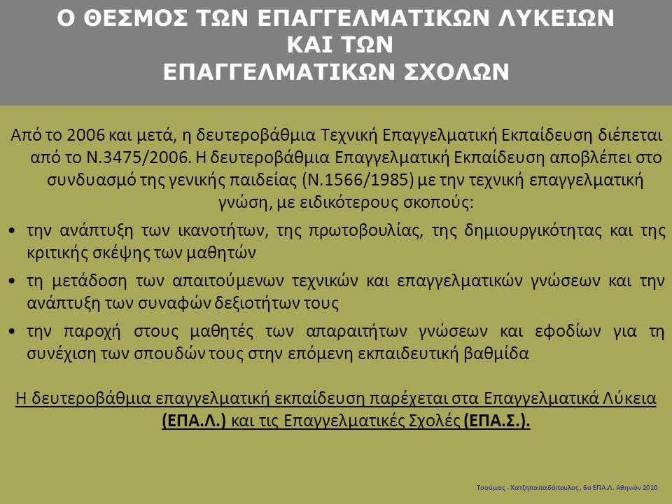 Τσούμας - Χατζηπαπαδόπουλος, 6ο ΕΠΑ.Λ. Αθηνών 2010 Από το 2006 και μετά, η δευτεροβάθμια Τεχνική Επαγγελματική Εκπαίδευση διέπεται από το N.3475/2006.