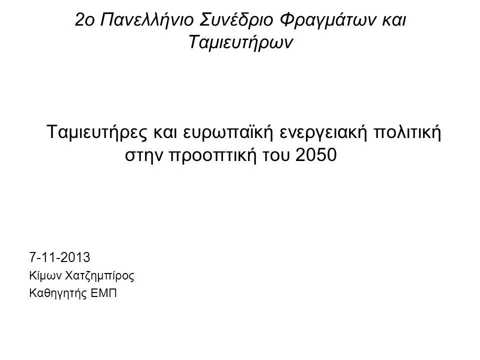 2ο Πανελλήνιο Συνέδριο Φραγμάτων και Ταμιευτήρων Ταμιευτήρες και ευρωπαϊκή ενεργειακή πολιτική στην προοπτική του 2050 7-11-2013 Κίμων Χατζημπίρος Καθ