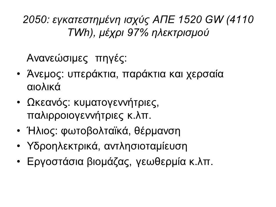 2050: εγκατεστημένη ισχύς ΑΠΕ 1520 GW (4110 TWh), μέχρι 97% ηλεκτρισμού Ανανεώσιμες πηγές: Άνεμος: υπεράκτια, παράκτια και χερσαία αιολικά Ωκεανός: κυματογεννήτριες, παλιρροιογεννήτριες κ.λπ.