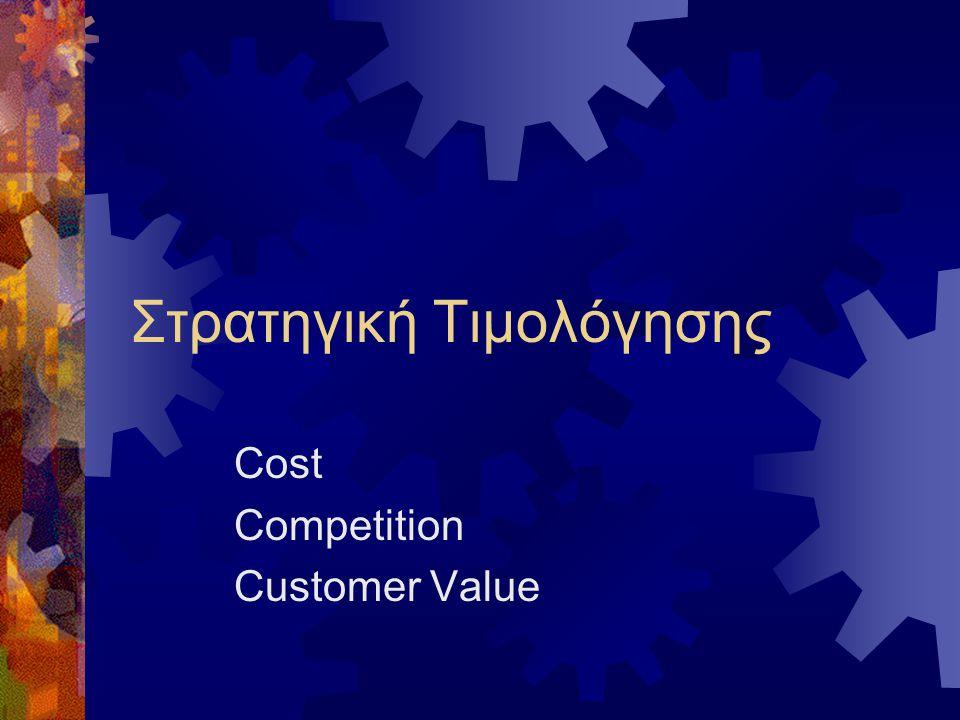 Τιμολόγηση και ανταγωνισμός  Think like your competitor (mature markets)  Επαναλαμβανόμενες αλληλεπιδράσεις μεταξύ των ανταγωνιστών δημιουργούν κατανόηση των κινήσεων  Αποφάσεις χωρίς προηγούμενη εμπειρία – χειρότερο πιθανό σενάριο  tit for tat (συνεργασία, ανταπόδοση, συνεργασία)  Επιχείρηση-ηγέτης τιμής  Μεγάλο μερίδιο αγοράς-χαμηλό κόστος  Ηγέτης στην κατηγορία προϊόντος  Ξεκάθαρη αίσθηση στρατηγικής  Διαθεσιμότητα πληροφοριακών στοιχείων για την αγορά και τους ανταγωνιστές