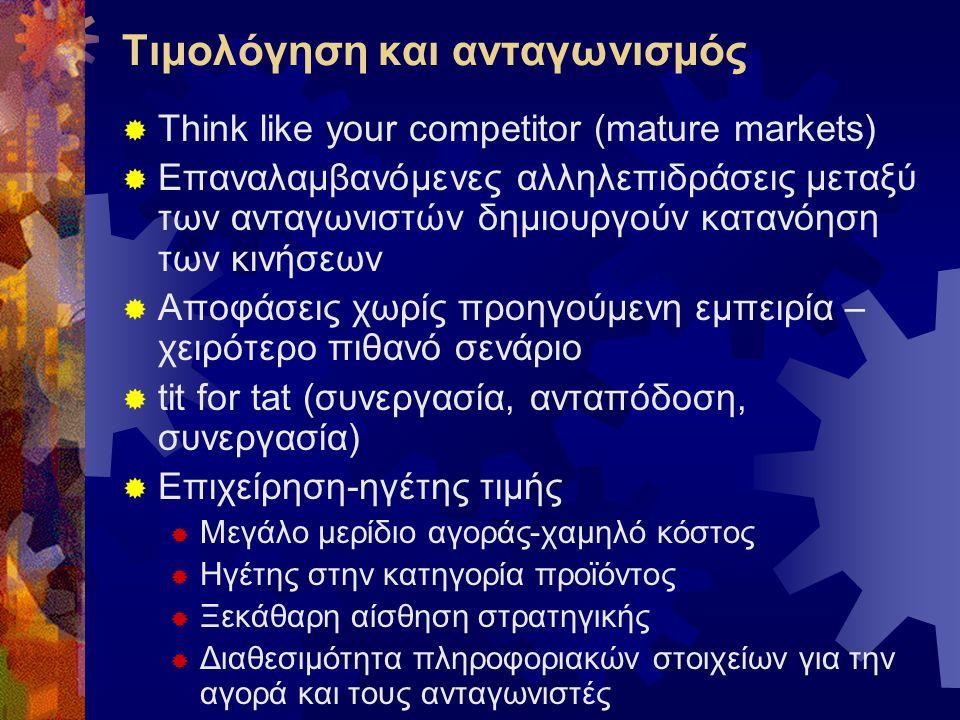 Τιμολόγηση και ανταγωνισμός  Think like your competitor (mature markets)  Επαναλαμβανόμενες αλληλεπιδράσεις μεταξύ των ανταγωνιστών δημιουργούν κατα