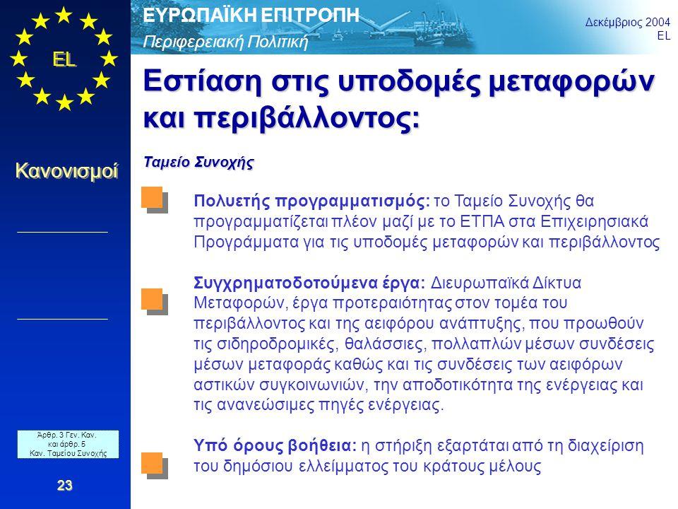 Περιφερειακή Πολιτική ΕΥΡΩΠΑΪΚΗ ΕΠΙΤΡΟΠΗ Δεκέμβριος 2004 EL Κανονισμοί 23 Εστίαση στις υποδομές μεταφορών και περιβάλλοντος: Ταμείο Συνοχής Πολυετής π