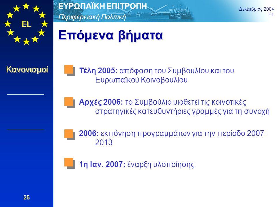 Περιφερειακή Πολιτική ΕΥΡΩΠΑΪΚΗ ΕΠΙΤΡΟΠΗ Δεκέμβριος 2004 EL Κανονισμοί 25 Επόμενα βήματα Τέλη 2005: απόφαση του Συμβουλίου και του Ευρωπαϊκού Κοινοβου