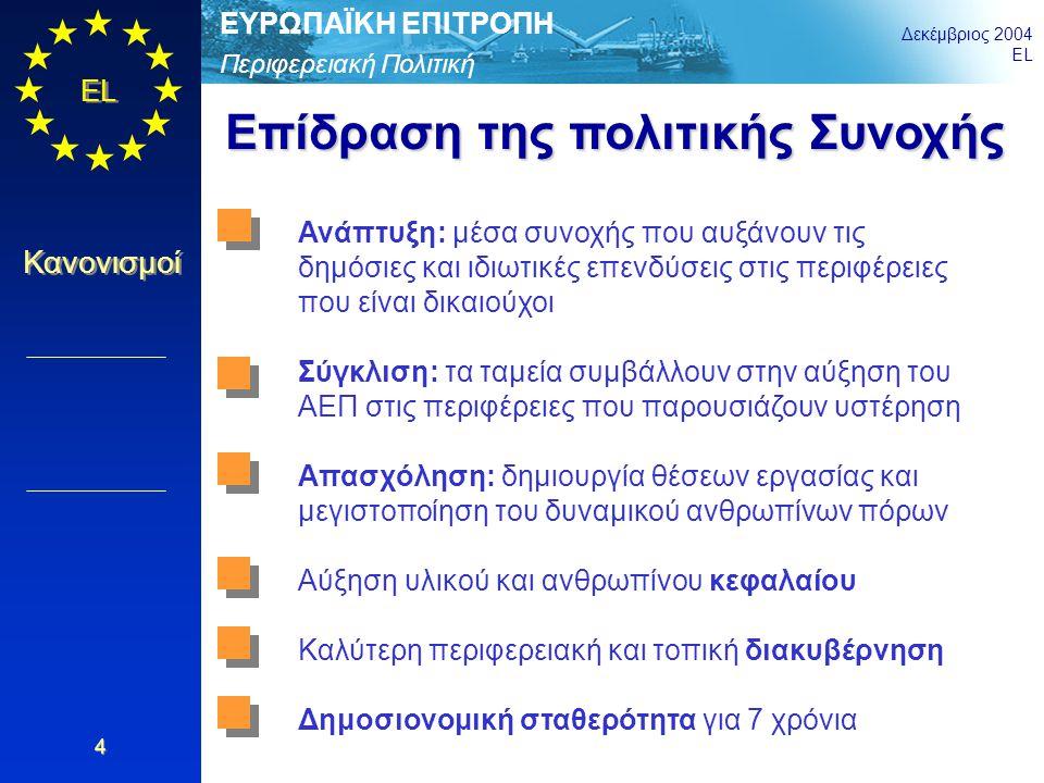 Περιφερειακή Πολιτική ΕΥΡΩΠΑΪΚΗ ΕΠΙΤΡΟΠΗ Δεκέμβριος 2004 EL Κανονισμοί 5 Στόχος Ενίσχυση της οικονομικής και κοινωνικής συνοχής και μείωση των περιφερειακών ανισοτήτων Μέσα Τρεις Στόχοι και τέσσερις κοινοτικές πρωτοβουλίες· 49,5% του πληθυσμού της ΕΕ25 ζει σε περιοχές που καλύπτονται από το Στόχο 1 ή το Στόχο 2 Δημοσιονομικοί πόροι περίπου 233 δισ.