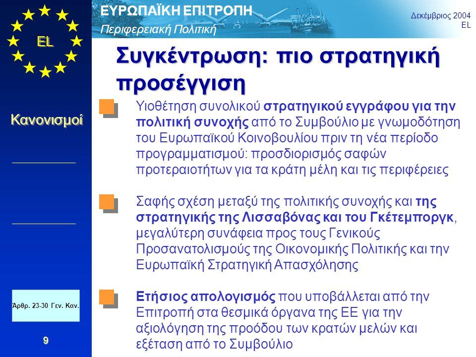 Περιφερειακή Πολιτική ΕΥΡΩΠΑΪΚΗ ΕΠΙΤΡΟΠΗ Δεκέμβριος 2004 EL Κανονισμοί 20 Σύγκλιση και περιφερειακή ανταγωνιστικότητα (1) Το Ευρωπαϊκό Ταμείο Περιφερειακής Ανάπτυξης (ΕΤΠΑ) χρηματοδοτεί στο πλαίσιο του Στόχου «Σύγκλιση»: Έρευνα και τεχνολογική ανάπτυξη, καινοτομία και επιχειρηματικότητα, κοινωνία της πληροφορίας, περιβάλλον, πρόληψη κινδύνων, τουρισμός, δίκτυα μεταφορών /ΤΕΝ, δίκτυα διανομής ενέργειας και ανανεώσιμες πηγές ενέργειας, εκπαίδευση και επενδύσεις στην υγεία, άμεσες ενισχύσεις στις ΜΜΕ του Στόχου «Περιφερειακή ανταγωνιστικότητα και απασχόληση»: Καινοτομία και οικονομία της γνώσης (Ε&ΤΑ, μεταφορά τεχνολογίας, καινοτομία στις ΜΜΕ) Περιβάλλον και πρόληψη κινδύνων (NATURA 2000 αποκατάσταση μολυσμένων περιοχών, προώθηση της αποδοτικότητας της ενέργειας και ανανεώσιμες πηγές ενέργειας) Πρόσβαση – εκτός αστικών περιοχών – σε υπηρεσίες μεταφορών και τηλεπικοινωνιών γενικού οικονομικού ενδιαφέροντος Άρθρ.