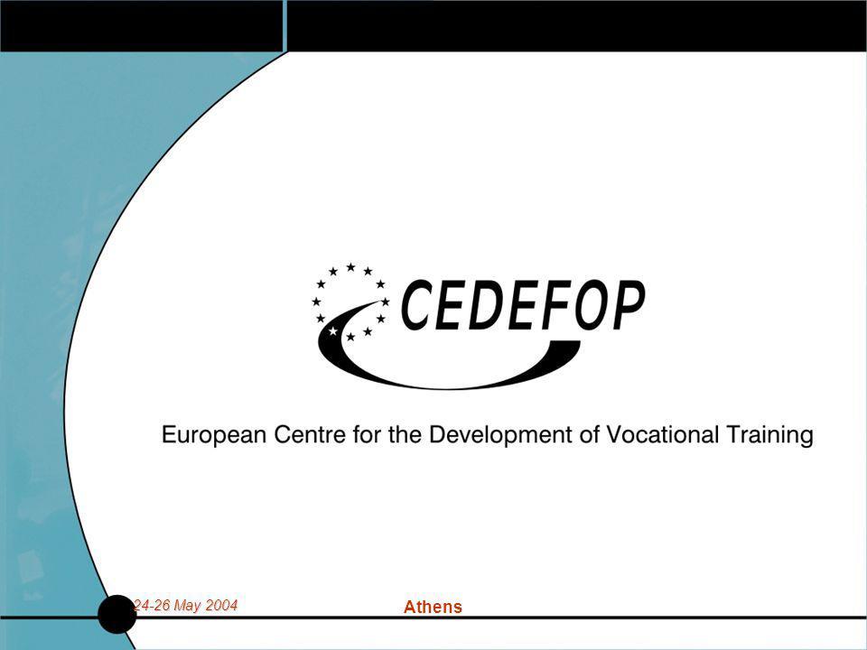 24-26 May 2004 Athens Βιβλιοθήκες και Δια Βίου Μάθηση  Προφίλ του Βιβλιοθηκονόμου και προσωπικού της πληροφόρησης  Το Cedefop αναλαμβάνει μελέτες για να συγκρίνει εκπαιδευτικά προγράμματα, προσόντα (πάνω από 200) στην Ευρωπαϊκή Ένωση.