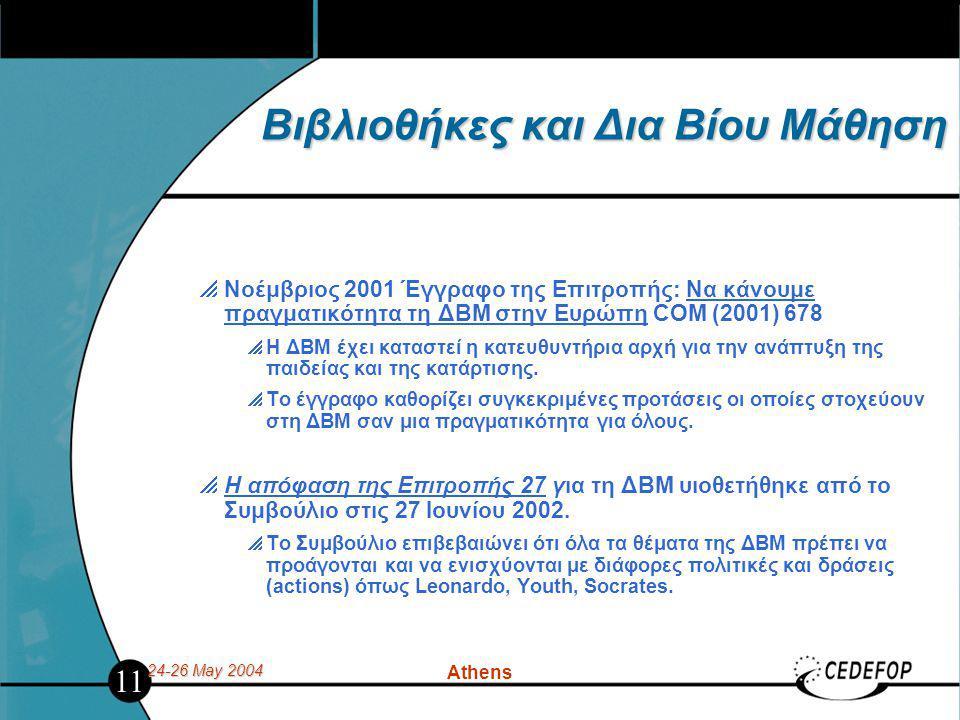 24-26 May 2004 Athens Βιβλιοθήκες και Δια Βίου Μάθηση  Νοέμβριος 2001 Έγγραφο της Επιτροπής: Να κάνουμε πραγματικότητα τη ΔΒΜ στην Ευρώπη COM (2001) 678  Η ΔΒΜ έχει καταστεί η κατευθυντήρια αρχή για την ανάπτυξη της παιδείας και της κατάρτισης.