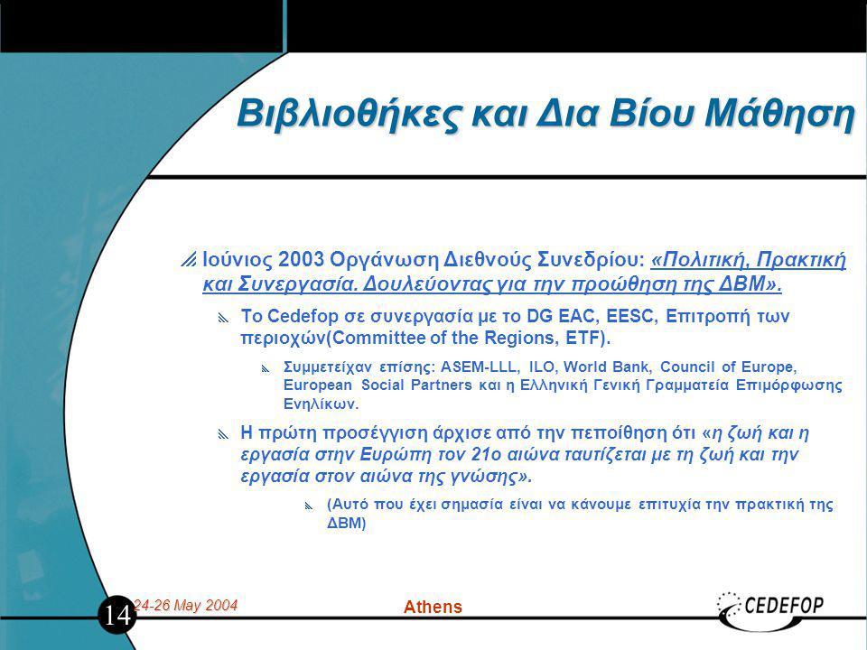 24-26 May 2004 Athens Βιβλιοθήκες και Δια Βίου Μάθηση  Ιούνιος 2003 Οργάνωση Διεθνούς Συνεδρίου: «Πολιτική, Πρακτική και Συνεργασία. Δουλεύοντας για