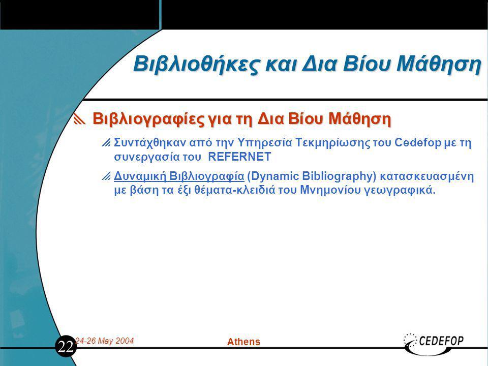 24-26 May 2004 Athens Βιβλιοθήκες και Δια Βίου Μάθηση  Βιβλιογραφίες για τη Δια Βίου Μάθηση  Συντάχθηκαν από την Υπηρεσία Τεκμηρίωσης του Cedefop με τη συνεργασία του REFERNET  Δυναμική Βιβλιογραφία (Dynamic Bibliography) κατασκευασμένη με βάση τα έξι θέματα-κλειδιά του Μνημονίου γεωγραφικά.