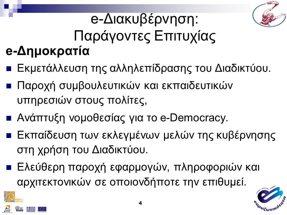 5 e-Διακυβέρνηση: Παράγοντες Επιτυχίας e-Δημοκρατία Ανακοίνωση όλων των δημόσιων συσκέψεων / συναντήσεων Παρουσίαση όλων των τμημάτων, κόμβων και υπηρεσιών που προσφέρει η κυβέρνηση, με αντίστοιχες παραπομπές (links).
