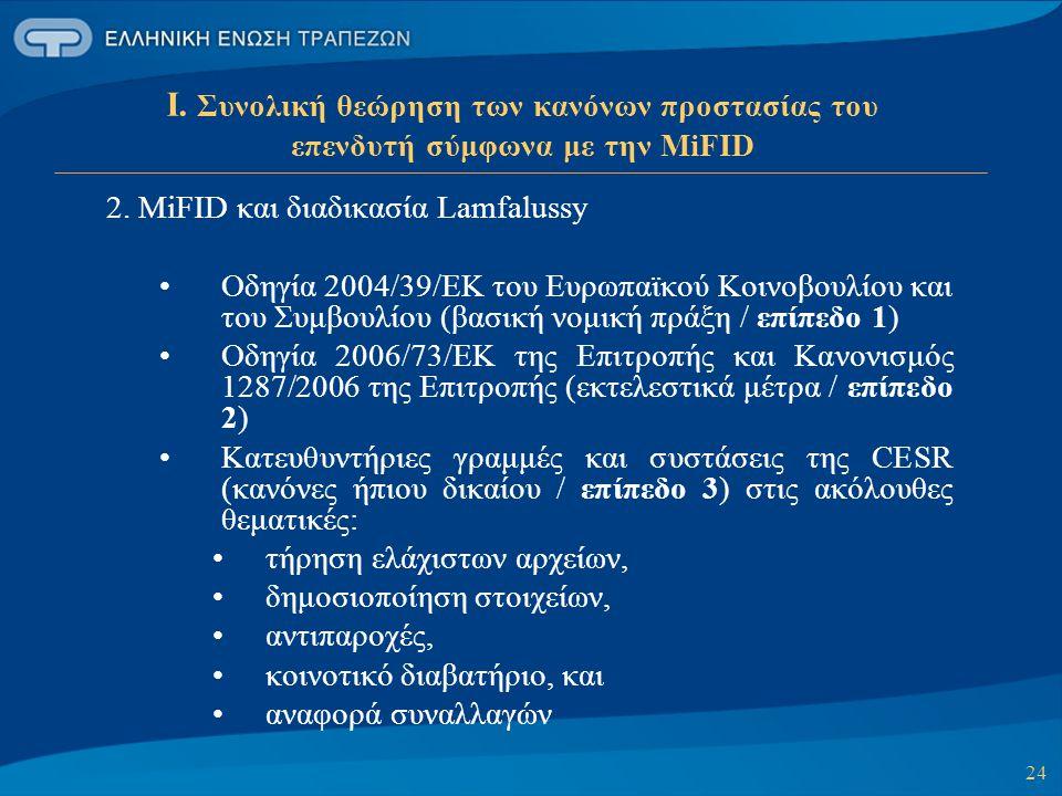 24 Ι. Συνολική θεώρηση των κανόνων προστασίας του επενδυτή σύμφωνα με την MiFID 2. MiFID και διαδικασία Lamfalussy Οδηγία 2004/39/ΕΚ του Ευρωπαϊκού Κο