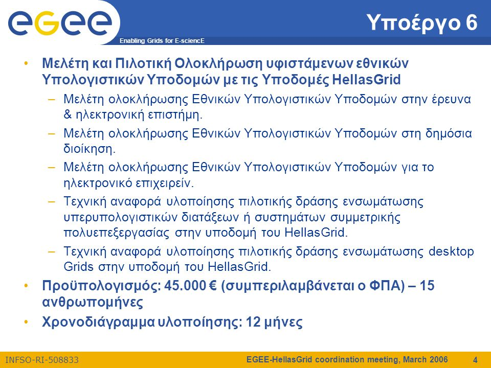 Enabling Grids for E-sciencE INFSO-RI-508833 EGEE-HellasGrid coordination meeting, March 2006 4 Υποέργο 6 Μελέτη και Πιλοτική Ολοκλήρωση υφιστάμενων εθνικών Υπολογιστικών Υποδομών με τις Υποδομές HellasGrid –Μελέτη ολοκλήρωσης Εθνικών Υπολογιστικών Υποδομών στην έρευνα & ηλεκτρονική επιστήμη.