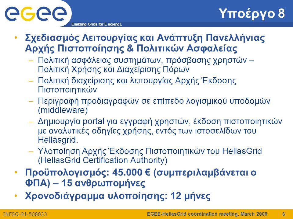 Enabling Grids for E-sciencE INFSO-RI-508833 EGEE-HellasGrid coordination meeting, March 2006 6 Υποέργο 8 Σχεδιασμός Λειτουργίας και Ανάπτυξη Πανελλήνιας Αρχής Πιστοποίησης & Πολιτικών Ασφαλείας –Πολιτική ασφάλειας συστημάτων, πρόσβασης χρηστών – Πολιτική Χρήσης και Διαχείρισης Πόρων –Πολιτική διαχείρισης και λειτουργίας Αρχής Έκδοσης Πιστοποιητικών –Περιγραφή προδιαγραφών σε επίπεδο λογισμικού υποδομών (middleware) –Δημιουργία portal για εγγραφή χρηστών, έκδοση πιστοποιητικών με αναλυτικές οδηγίες χρήσης, εντός των ιστοσελίδων του Hellasgrid.