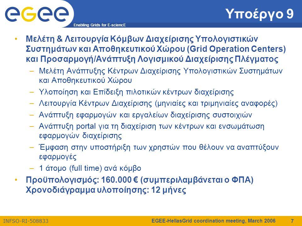 Enabling Grids for E-sciencE INFSO-RI-508833 EGEE-HellasGrid coordination meeting, March 2006 7 Υποέργο 9 Μελέτη & Λειτουργία Κόμβων Διαχείρισης Υπολογιστικών Συστημάτων και Αποθηκευτικού Χώρου (Grid Operation Centers) και Προσαρμογή/Ανάπτυξη Λογισμικού Διαχείρισης Πλέγματος –Μελέτη Ανάπτυξης Κέντρων Διαχείρισης Υπολογιστικών Συστημάτων και Αποθηκευτικού Χώρου –Υλοποίηση και Επίδειξη πιλοτικών κέντρων διαχείρισης –Λειτουργία Κέντρων Διαχείρισης (μηνιαίες και τριμηνιαίες αναφορές) –Ανάπτυξη εφαρμογών και εργαλείων διαχείρισης συστοιχιών –Ανάπτυξη portal για τη διαχείριση των κέντρων και ενσωμάτωση εφαρμογών διαχείρισης –Έμφαση στην υποστήριξη των χρηστών που θέλουν να αναπτύξουν εφαρμογές –1 άτομο (full time) ανά κόμβο Προϋπολογισμός: 160.000 € (συμπεριλαμβάνεται ο ΦΠΑ) Χρονοδιάγραμμα υλοποίησης: 12 μήνες