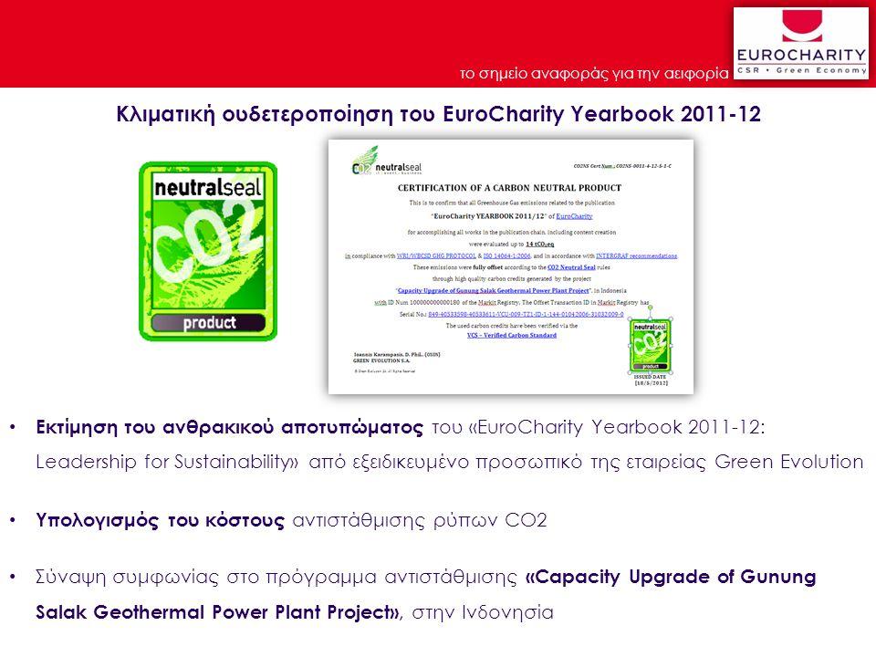 το σημείο αναφοράς για την αειφορία Εκτίμηση του ανθρακικού αποτυπώματος του «EuroCharity Yearbook 2011-12: Leadership for Sustainability» από εξειδικευμένο προσωπικό της εταιρείας Green Evolution Υπολογισμός του κόστους αντιστάθμισης ρύπων CO2 Σύναψη συμφωνίας στο πρόγραμμα αντιστάθμισης «Capacity Upgrade of Gunung Salak Geothermal Power Plant Project», στην Ινδονησία Κλιματική ουδετεροποίηση του EuroCharity Yearbook 2011-12