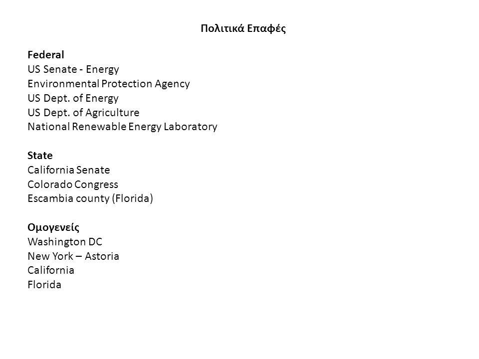 Πολιτικά Επαφές Federal US Senate - Energy Environmental Protection Agency US Dept. of Energy US Dept. of Agriculture National Renewable Energy Labora