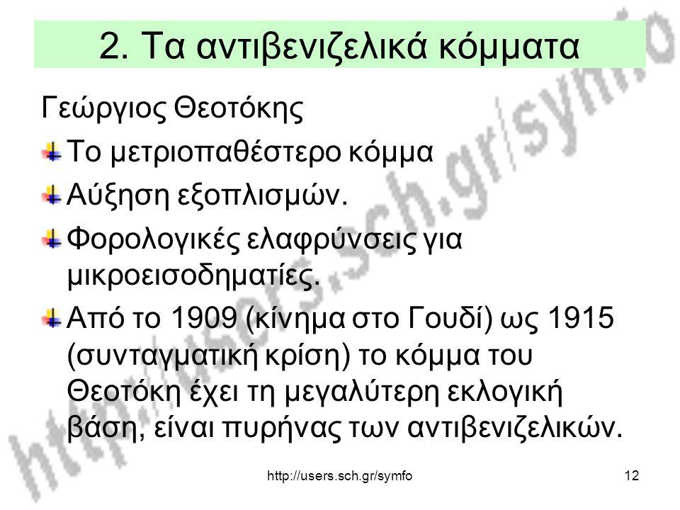 http://users.sch.gr/symfo12 2. Τα αντιβενιζελικά κόμματα Γεώργιος Θεοτόκης Το μετριοπαθέστερο κόμμα Αύξηση εξοπλισμών. Φορολογικές ελαφρύνσεις για μικ