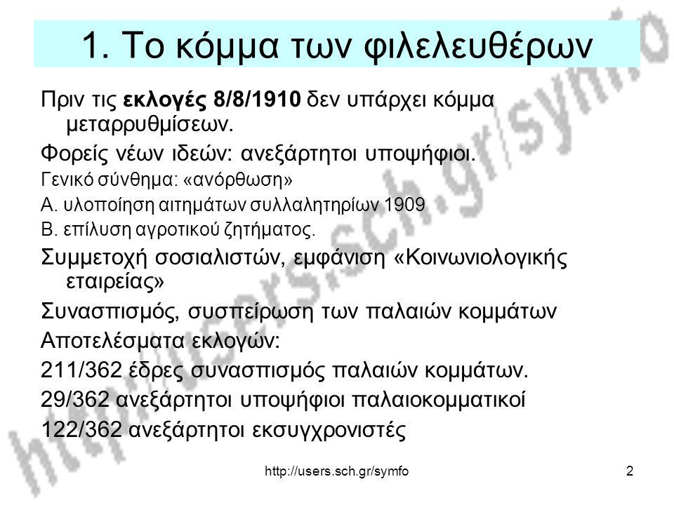 http://users.sch.gr/symfo2 1. Το κόμμα των φιλελευθέρων Πριν τις εκλογές 8/8/1910 δεν υπάρχει κόμμα μεταρρυθμίσεων. Φορείς νέων ιδεών: ανεξάρτητοι υπο