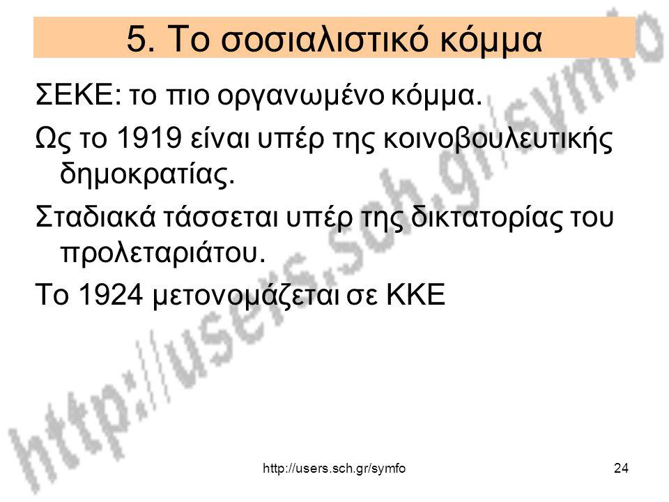 http://users.sch.gr/symfo24 5. Το σοσιαλιστικό κόμμα ΣΕΚΕ: το πιο οργανωμένο κόμμα. Ως το 1919 είναι υπέρ της κοινοβουλευτικής δημοκρατίας. Σταδιακά τ
