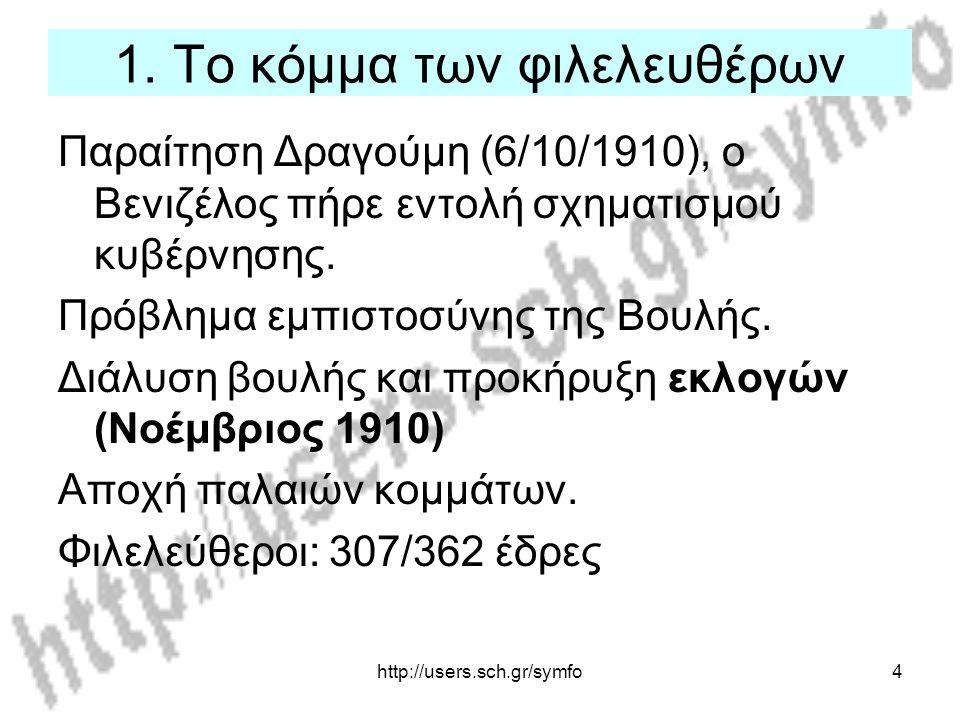 http://users.sch.gr/symfo4 1. Το κόμμα των φιλελευθέρων Παραίτηση Δραγούμη (6/10/1910), ο Βενιζέλος πήρε εντολή σχηματισμού κυβέρνησης. Πρόβλημα εμπισ