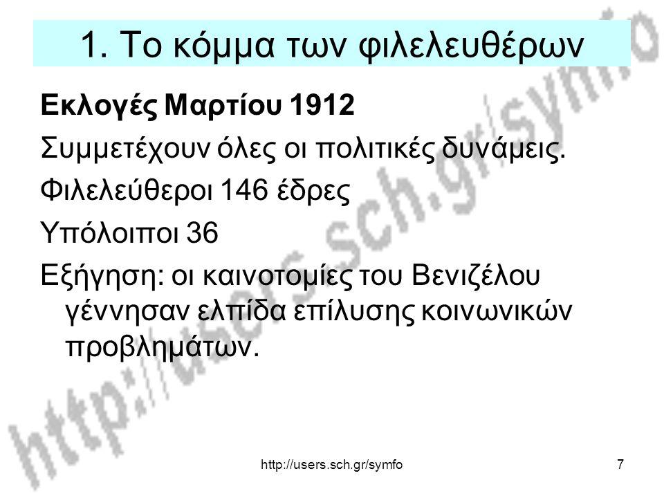 http://users.sch.gr/symfo7 1. Το κόμμα των φιλελευθέρων Εκλογές Μαρτίου 1912 Συμμετέχουν όλες οι πολιτικές δυνάμεις. Φιλελεύθεροι 146 έδρες Υπόλοιποι