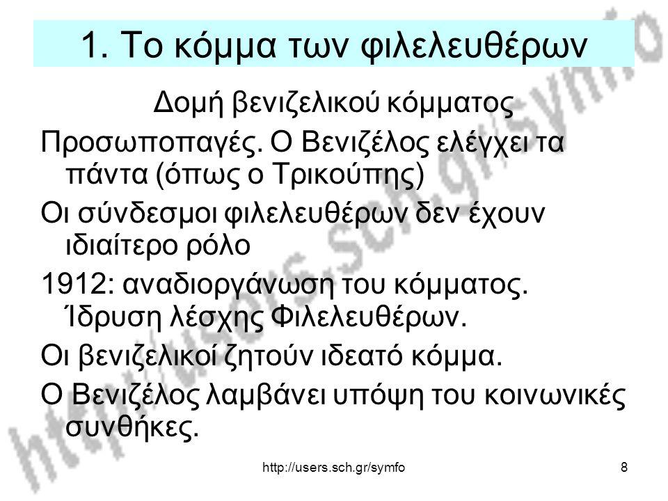 http://users.sch.gr/symfo8 1. Το κόμμα των φιλελευθέρων Δομή βενιζελικού κόμματος Προσωποπαγές. Ο Βενιζέλος ελέγχει τα πάντα (όπως ο Τρικούπης) Οι σύν