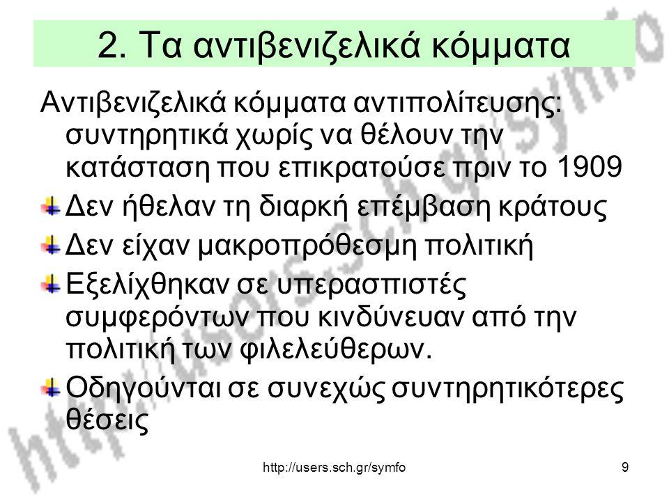 http://users.sch.gr/symfo9 2. Τα αντιβενιζελικά κόμματα Αντιβενιζελικά κόμματα αντιπολίτευσης: συντηρητικά χωρίς να θέλουν την κατάσταση που επικρατού