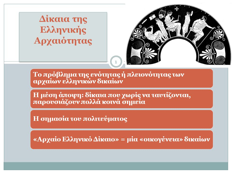 Το πρόβλημα της ενότητας ή πλειονότητας των αρχαίων ελληνικών δικαίων Η μέση άποψη: δίκαια που χωρίς να ταυτίζονται, παρουσιάζουν πολλά κοινά σημεία Η