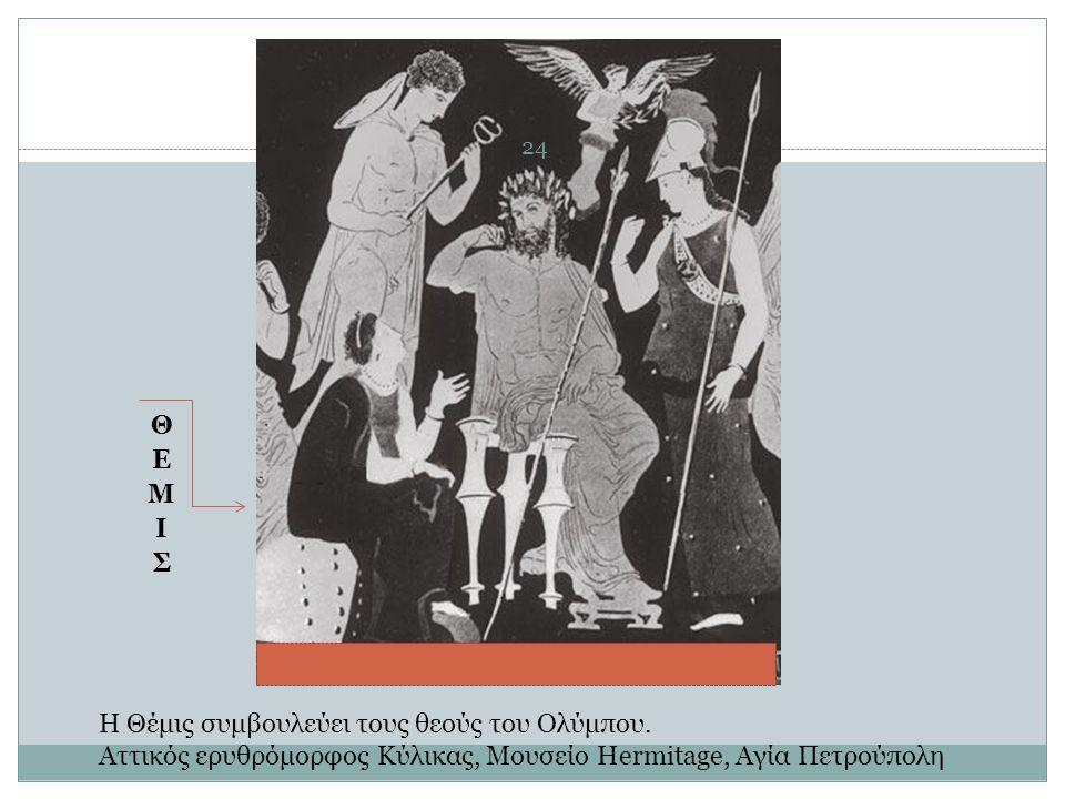 Η Θέμις συμβουλεύει τους θεούς του Ολύμπου. Αττικός ερυθρόμορφος Κύλικας, Μουσείο Hermitage, Αγία Πετρούπολη 24